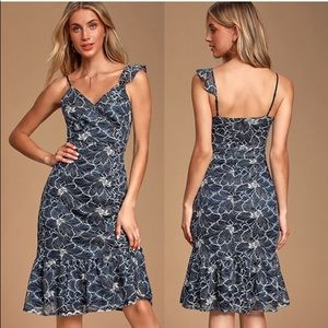 Lulus Navy Blue Floral Print Midi Dress